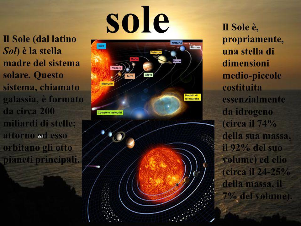sole Il Sole (dal latino Sol) è la stella madre del sistema solare.