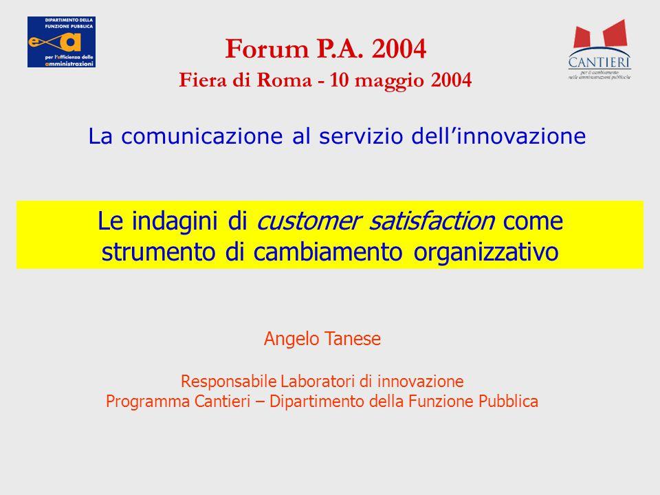 Le indagini di customer satisfaction come strumento di cambiamento organizzativo Forum P.A. 2004 Fiera di Roma - 10 maggio 2004 Angelo Tanese Responsa