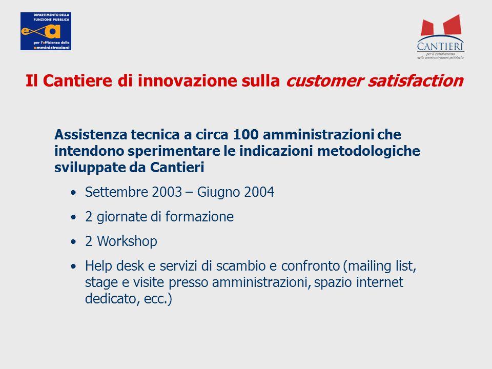 Assistenza tecnica a circa 100 amministrazioni che intendono sperimentare le indicazioni metodologiche sviluppate da Cantieri Settembre 2003 – Giugno