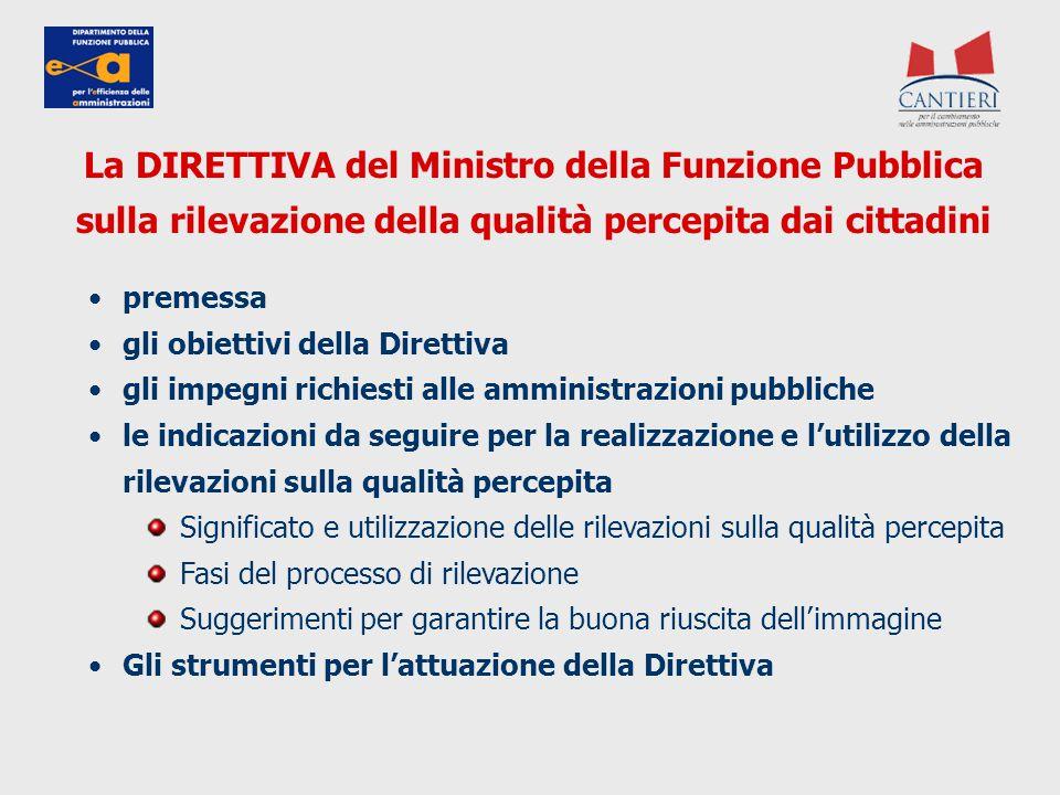 La DIRETTIVA del Ministro della Funzione Pubblica sulla rilevazione della qualità percepita dai cittadini premessa gli obiettivi della Direttiva gli i