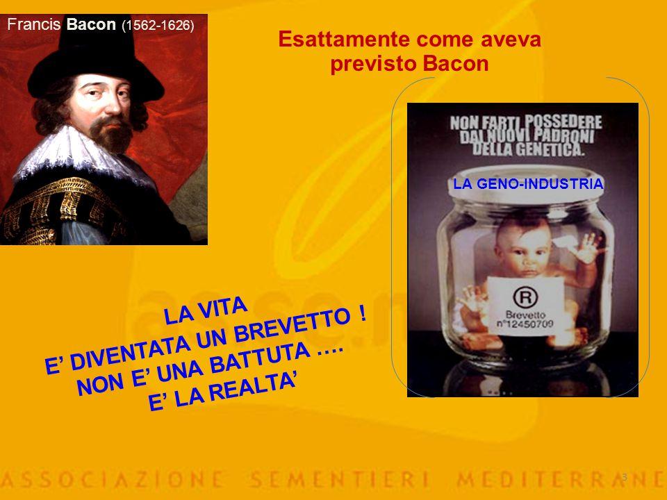 3 Esattamente come aveva previsto Bacon Francis Bacon (1562-1626) LA VITA E' DIVENTATA UN BREVETTO .