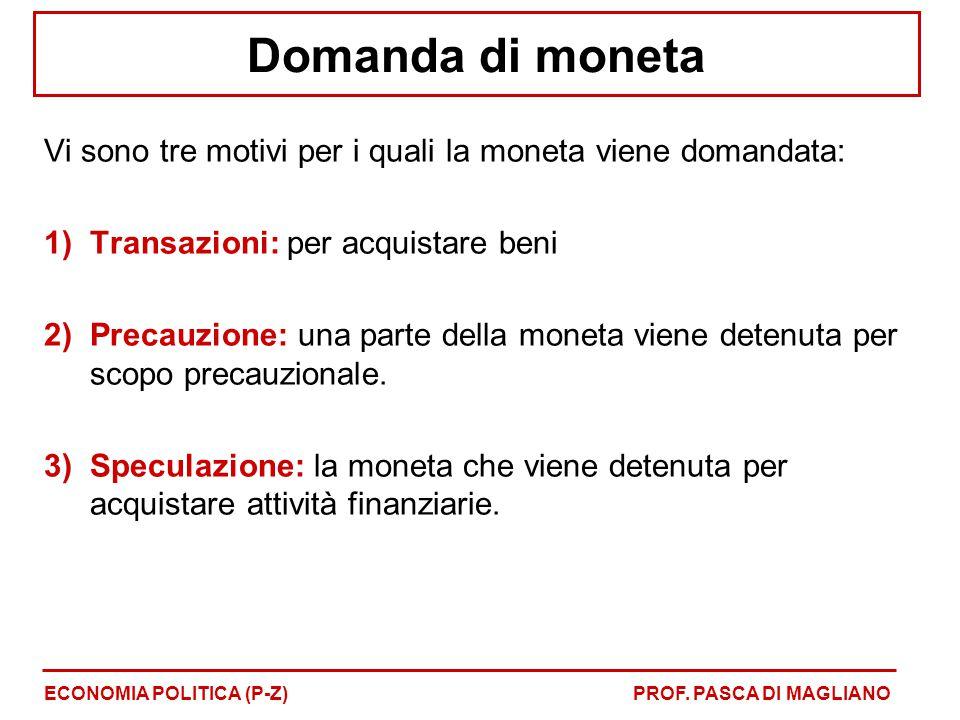 Domanda di moneta Vi sono tre motivi per i quali la moneta viene domandata: 1)Transazioni: per acquistare beni 2)Precauzione: una parte della moneta v