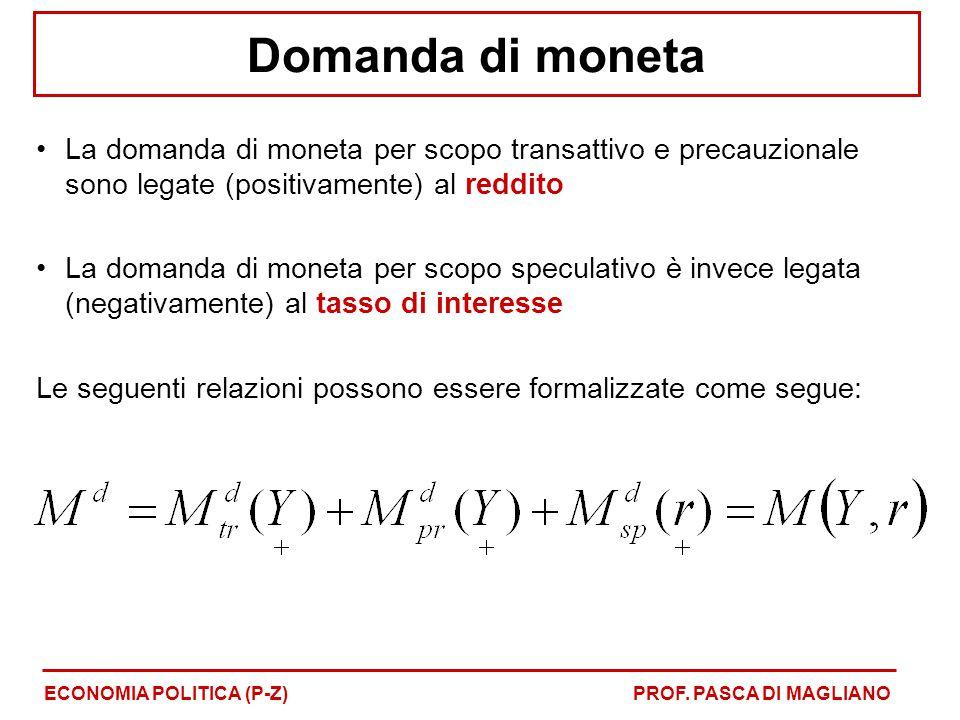 Domanda di moneta La domanda di moneta per scopo transattivo e precauzionale sono legate (positivamente) al reddito La domanda di moneta per scopo spe