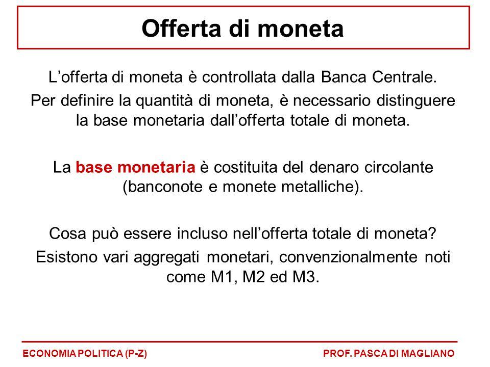 Offerta di moneta L'offerta di moneta è controllata dalla Banca Centrale. Per definire la quantità di moneta, è necessario distinguere la base monetar