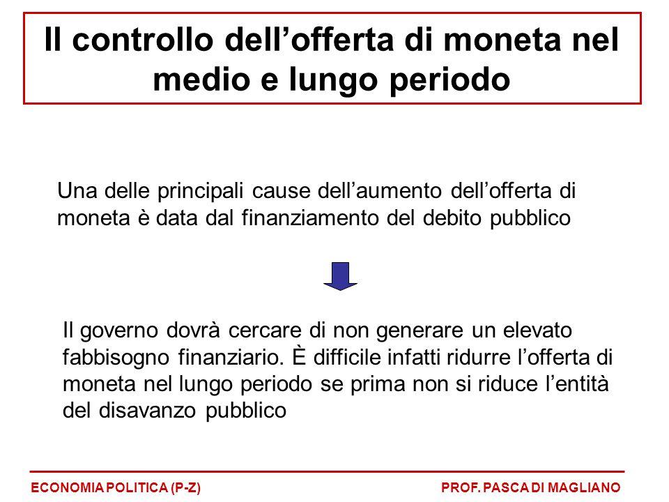 Una delle principali cause dell'aumento dell'offerta di moneta è data dal finanziamento del debito pubblico Il governo dovrà cercare di non generare u