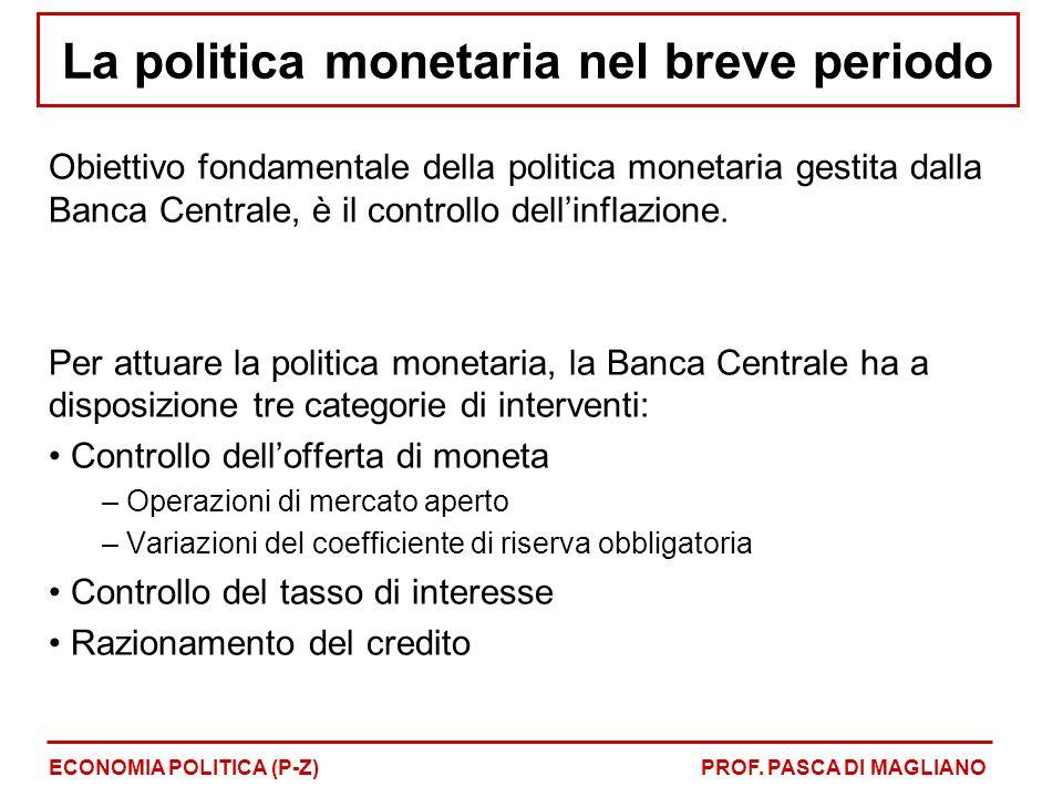 La politica monetaria nel breve periodo Obiettivo fondamentale della politica monetaria gestita dalla Banca Centrale, è il controllo dell'inflazione.