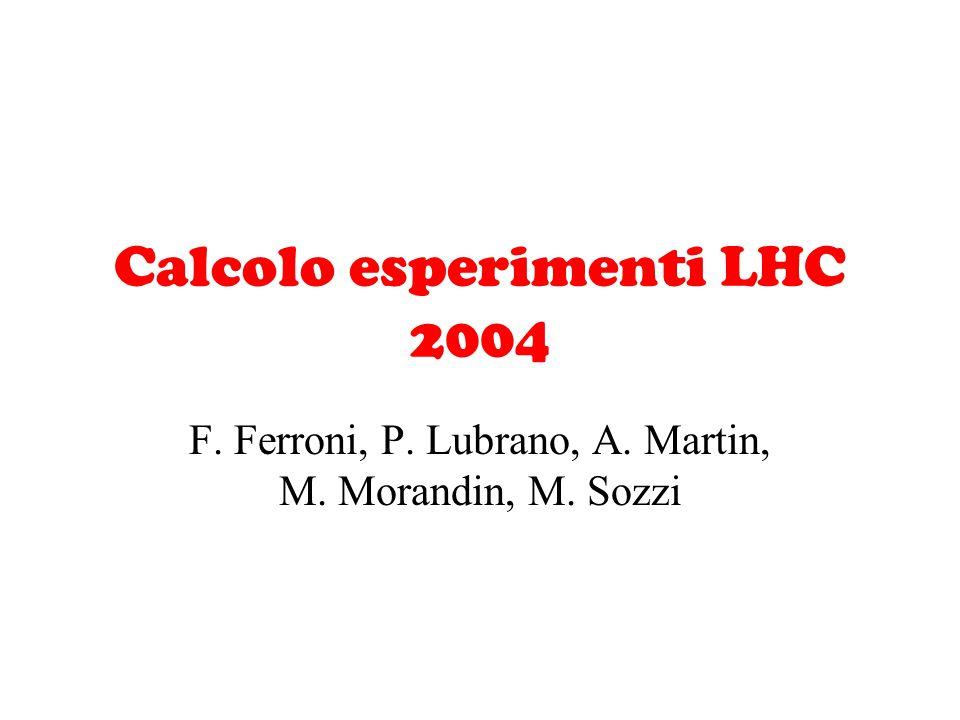 Calcolo esperimenti LHC 2004 F. Ferroni, P. Lubrano, A. Martin, M. Morandin, M. Sozzi