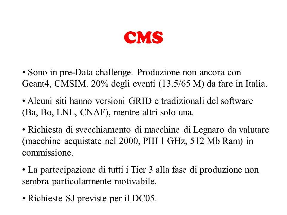 CMS Sono in pre-Data challenge. Produzione non ancora con Geant4, CMSIM. 20% degli eventi (13.5/65 M) da fare in Italia. Alcuni siti hanno versioni GR