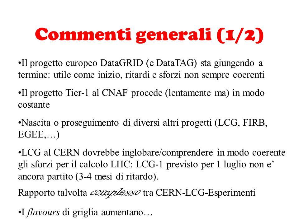 Commenti generali (1/2) Il progetto europeo DataGRID (e DataTAG) sta giungendo a termine: utile come inizio, ritardi e sforzi non sempre coerenti Il p