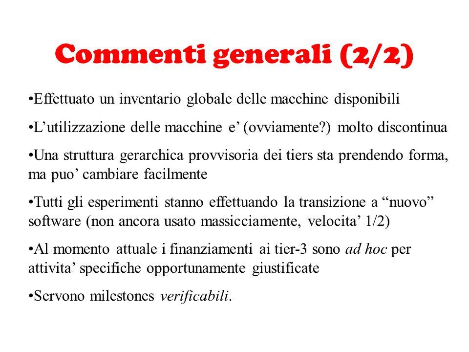 Commenti generali (2/2) Effettuato un inventario globale delle macchine disponibili L'utilizzazione delle macchine e' (ovviamente?) molto discontinua