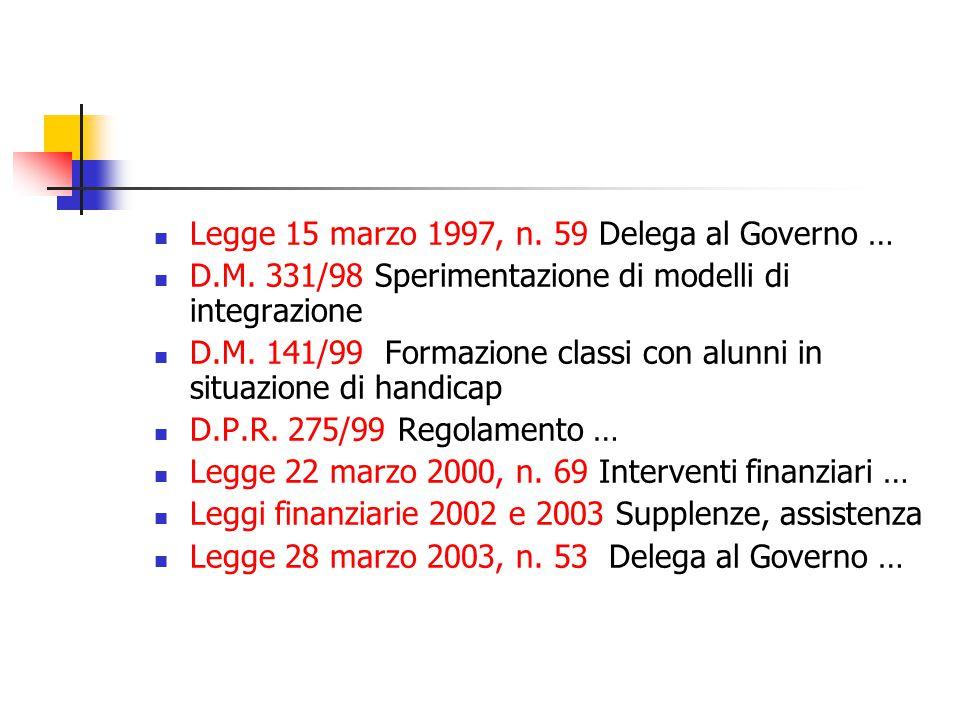 Legge 15 marzo 1997, n. 59 Delega al Governo … D.M.