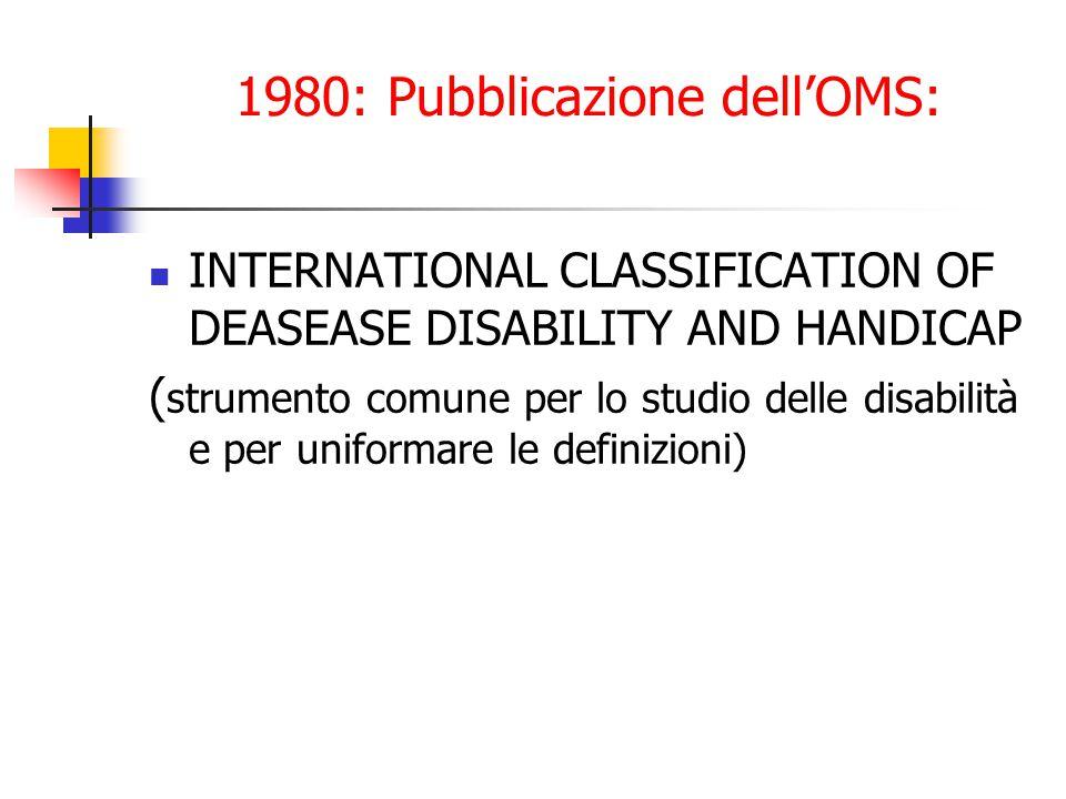 1980: Pubblicazione dell'OMS: INTERNATIONAL CLASSIFICATION OF DEASEASE DISABILITY AND HANDICAP ( strumento comune per lo studio delle disabilità e per uniformare le definizioni)