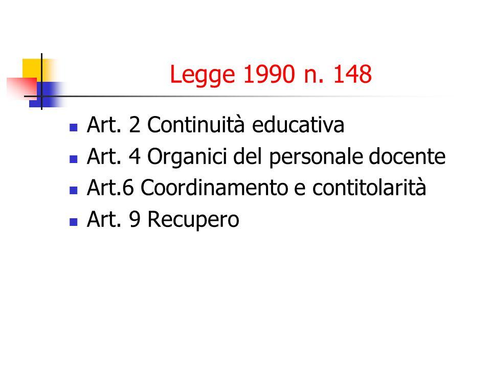 Legge 1990 n.148 Art. 2 Continuità educativa Art.