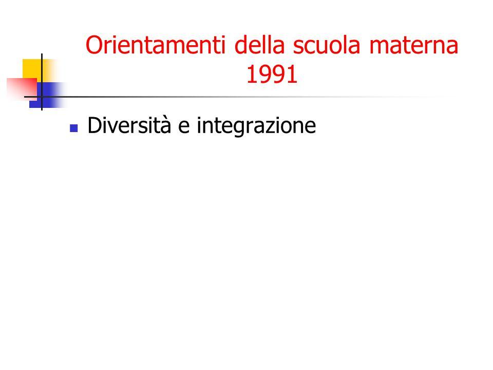 Orientamenti della scuola materna 1991 Diversità e integrazione