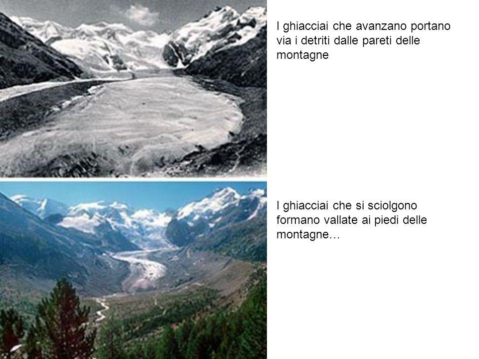 I ghiacciai che avanzano portano via i detriti dalle pareti delle montagne I ghiacciai che si sciolgono formano vallate ai piedi delle montagne…