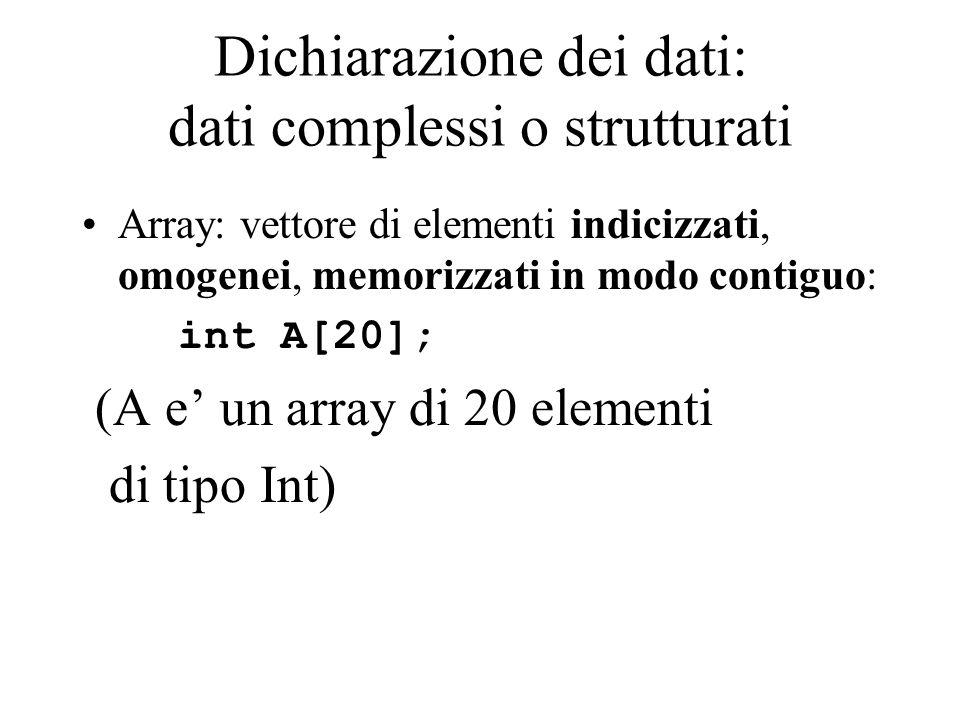 Dichiarazione dei dati: dati complessi o strutturati Array: vettore di elementi indicizzati, omogenei, memorizzati in modo contiguo: int A[20]; (A e' un array di 20 elementi di tipo Int)