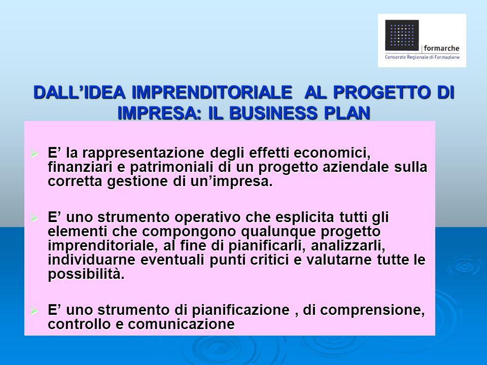 DALL'IDEA IMPRENDITORIALE AL PROGETTO DI IMPRESA: IL BUSINESS PLAN  E' la rappresentazione degli effetti economici, finanziari e patrimoniali di un p