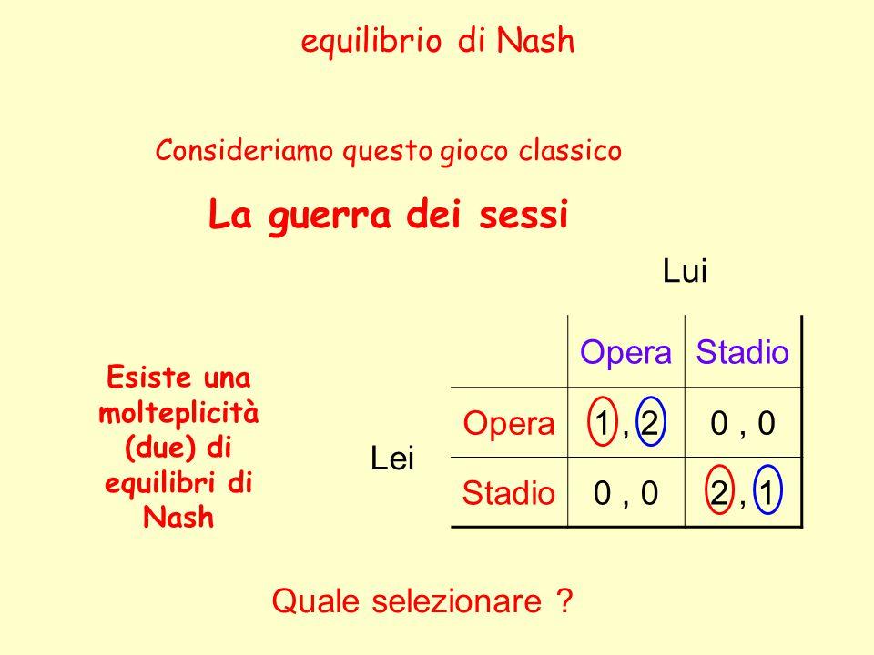equilibrio di Nash Lui OperaStadio Lei Opera1, 20, 0 Stadio0, 02, 1 Consideriamo questo gioco classico La guerra dei sessi Esiste una molteplicità (due) di equilibri di Nash Quale selezionare ?