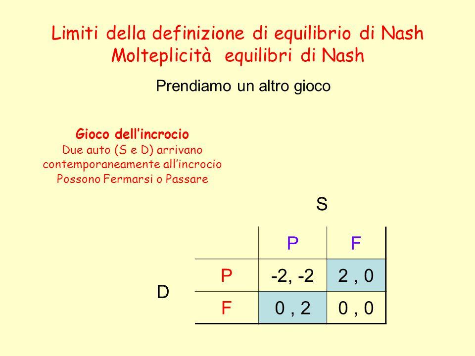 Limiti della definizione di equilibrio di Nash Molteplicità equilibri di Nash S PF D P-2, -22, 0 F0, 20, 0 Prendiamo un altro gioco Gioco dell'incrocio Due auto (S e D) arrivano contemporaneamente all'incrocio Possono Fermarsi o Passare