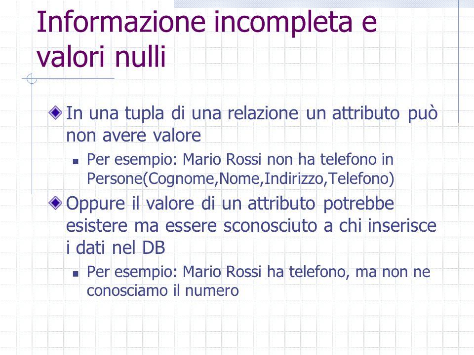 Informazione incompleta e valori nulli In una tupla di una relazione un attributo può non avere valore Per esempio: Mario Rossi non ha telefono in Per