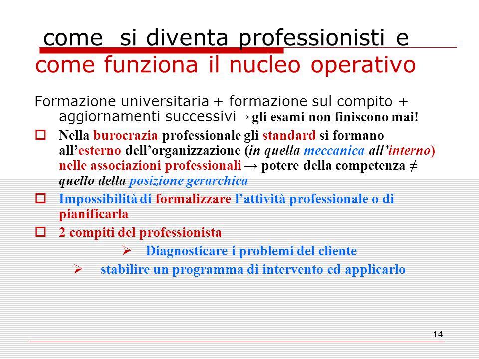 14 come si diventa professionisti e come funziona il nucleo operativo Formazione universitaria + formazione sul compito + aggiornamenti successivi → gli esami non finiscono mai.