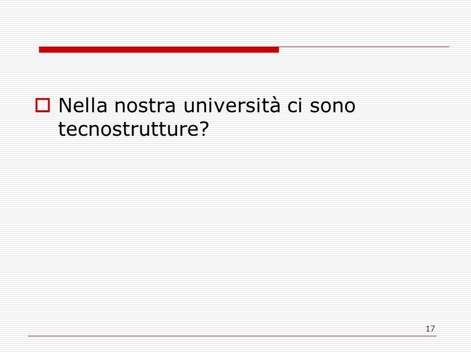 17  Nella nostra università ci sono tecnostrutture