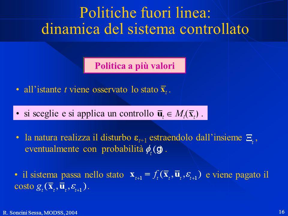 R. Soncini Sessa, MODSS, 2004 15 Politiche fuori linea Determinare una politica fuori linea significa trovare a priori (cioè prima dell'inizio della g