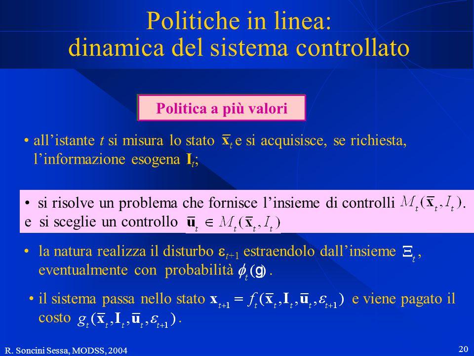 R. Soncini Sessa, MODSS, 2004 19 Politiche in linea Determinare una politica in linea richiede la risoluzione, ad ogni istante t, di un problema di co