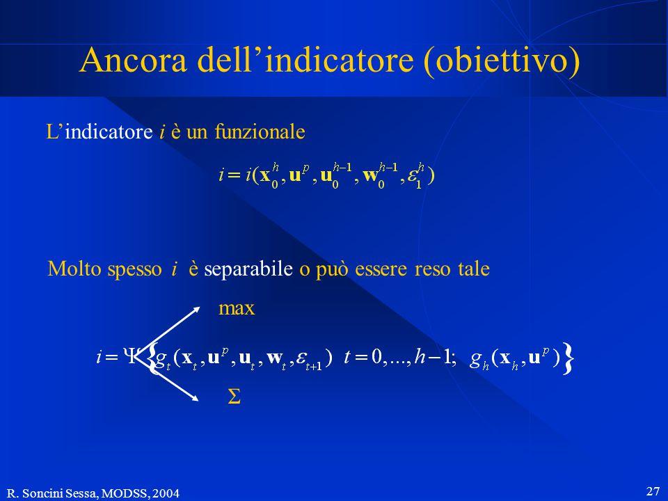 R. Soncini Sessa, MODSS, 2004 26 Confronto Rapida valutazione delle prestazioni su uno scenario. Si simula il sistema. La simulazione è rapida perché