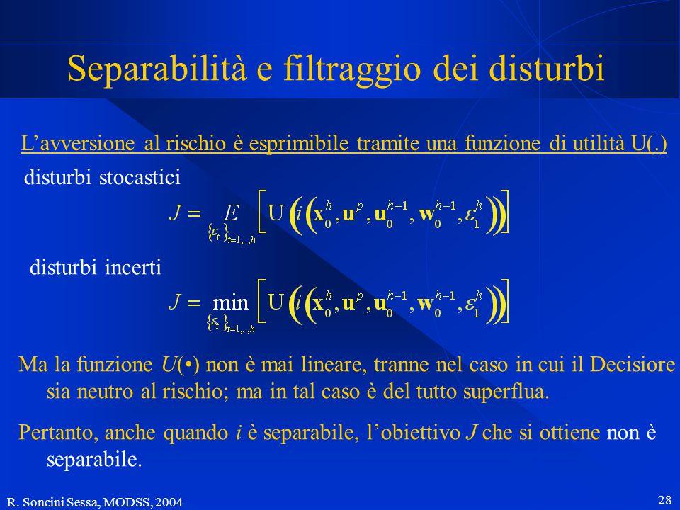 R. Soncini Sessa, MODSS, 2004 27 Ancora dell'indicatore (obiettivo) L'indicatore i è un funzionale Molto spesso i è separabile o può essere reso tale