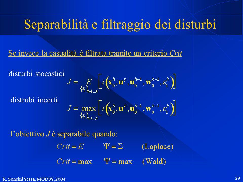 R. Soncini Sessa, MODSS, 2004 28 Separabilità e filtraggio dei disturbi Ma la funzione U() non è mai lineare, tranne nel caso in cui il Decisiore sia