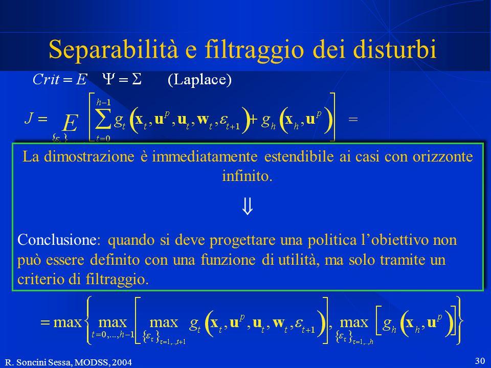 R. Soncini Sessa, MODSS, 2004 29 Separabilità e filtraggio dei disturbi l'obiettivo J è separabile quando: distrubi incerti disturbi stocastici Se inv