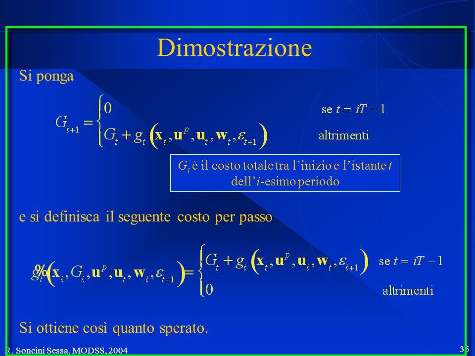 R. Soncini Sessa, MODSS, 2004 35 L'obiettivo forme miste dell'operatore temporale Quando il sistema è periodico sono interessanti anche forme miste de