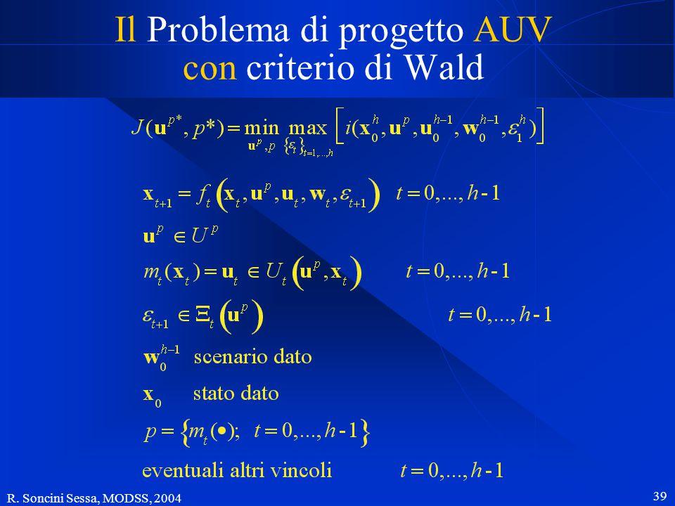 R. Soncini Sessa, MODSS, 2004 38 Il Problema di progetto AUV con criterio di Laplace