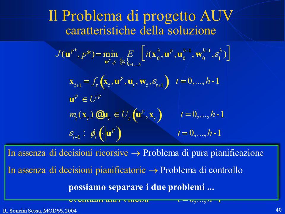 R. Soncini Sessa, MODSS, 2004 39 Il Problema di progetto AUV con criterio di Wald