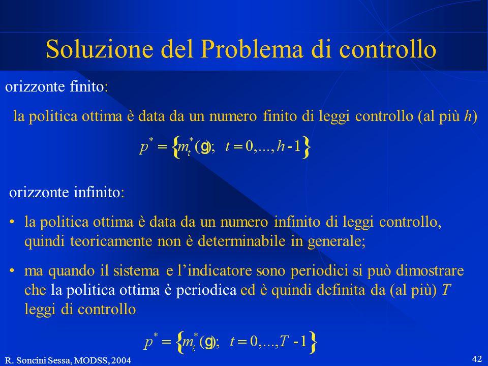 R. Soncini Sessa, MODSS, 2004 41 Il Problema di progetto AUV caratteristiche della soluzione un Problema di pianificazione...... che contiene un Probl
