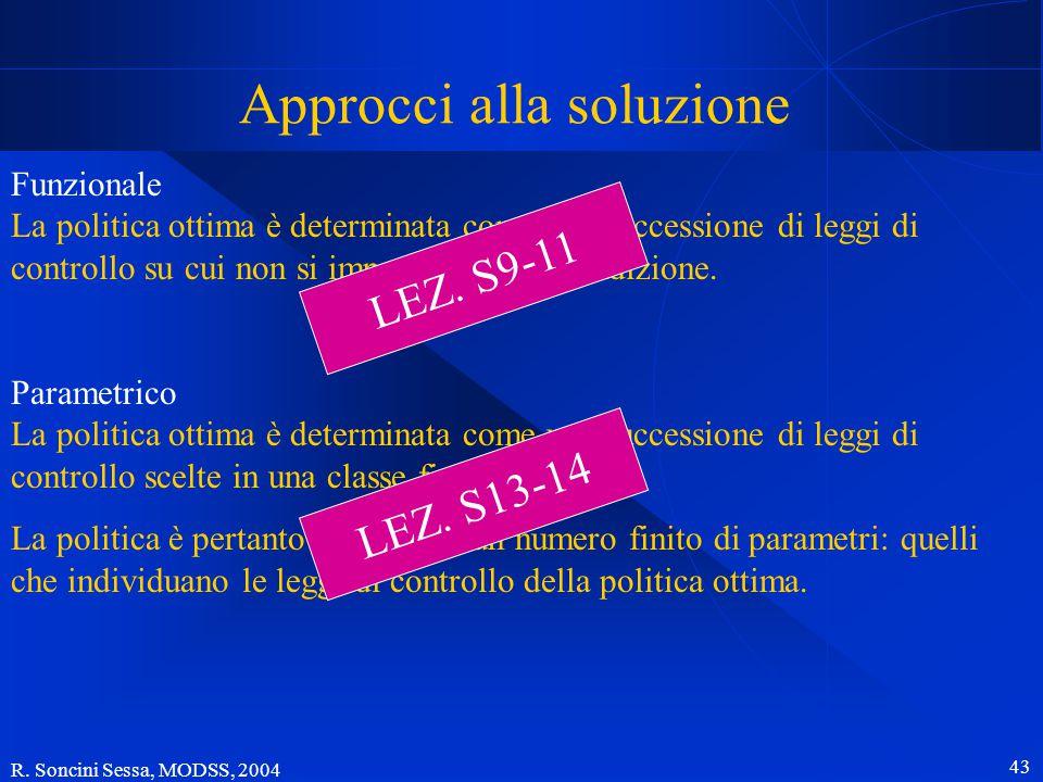 R. Soncini Sessa, MODSS, 2004 42 Soluzione del Problema di controllo orizzonte finito: la politica ottima è data da un numero finito di leggi controll