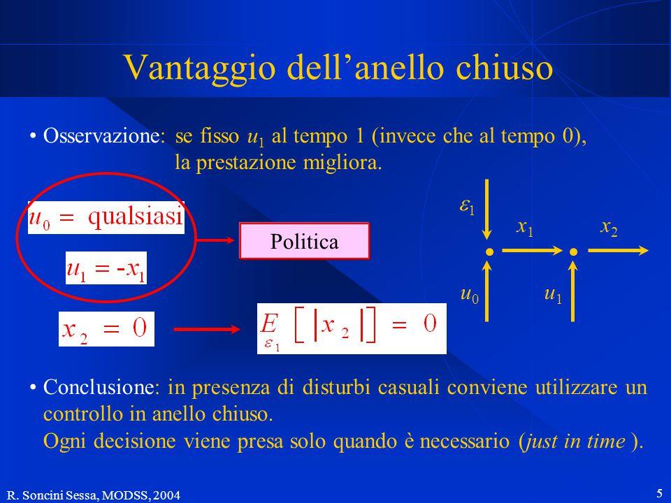 R. Soncini Sessa, MODSS, 2004 4 Sistema Disturbo Anello aperto o anello chiuso? un esempio Obiettivo Soluzione x1x1 x2x2 11 u1u1 u0u0