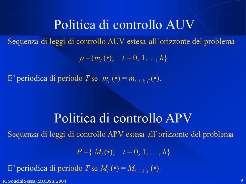 R. Soncini Sessa, MODSS, 2004 8 Rappresentazione grafica utut tt m t () legge di controllo AUV mt(t)mt(t) controllo Mt(t)Mt(t) insieme di contro