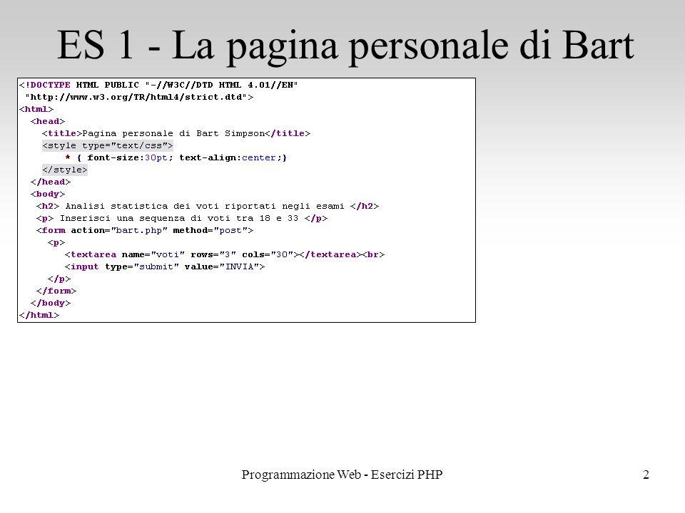 ES 1 - La pagina personale di Bart 2Programmazione Web - Esercizi PHP