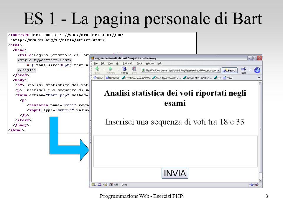 ES 1 - La pagina personale di Bart 3Programmazione Web - Esercizi PHP
