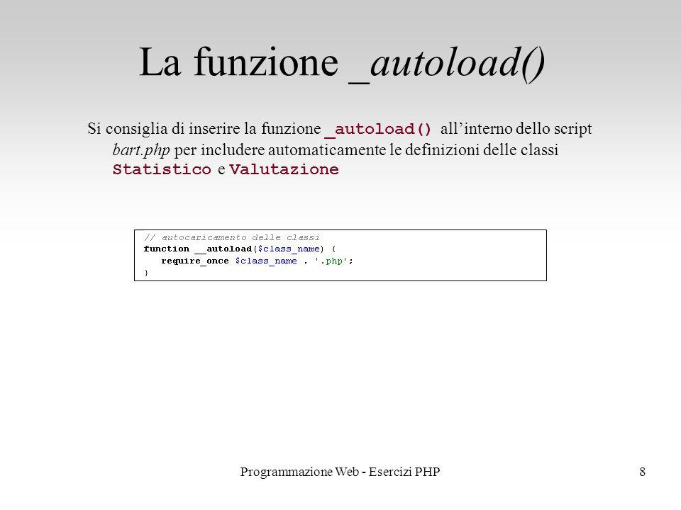 Si consiglia di inserire la funzione _autoload() all'interno dello script bart.php per includere automaticamente le definizioni delle classi Statistico e Valutazione La funzione _autoload() 8Programmazione Web - Esercizi PHP