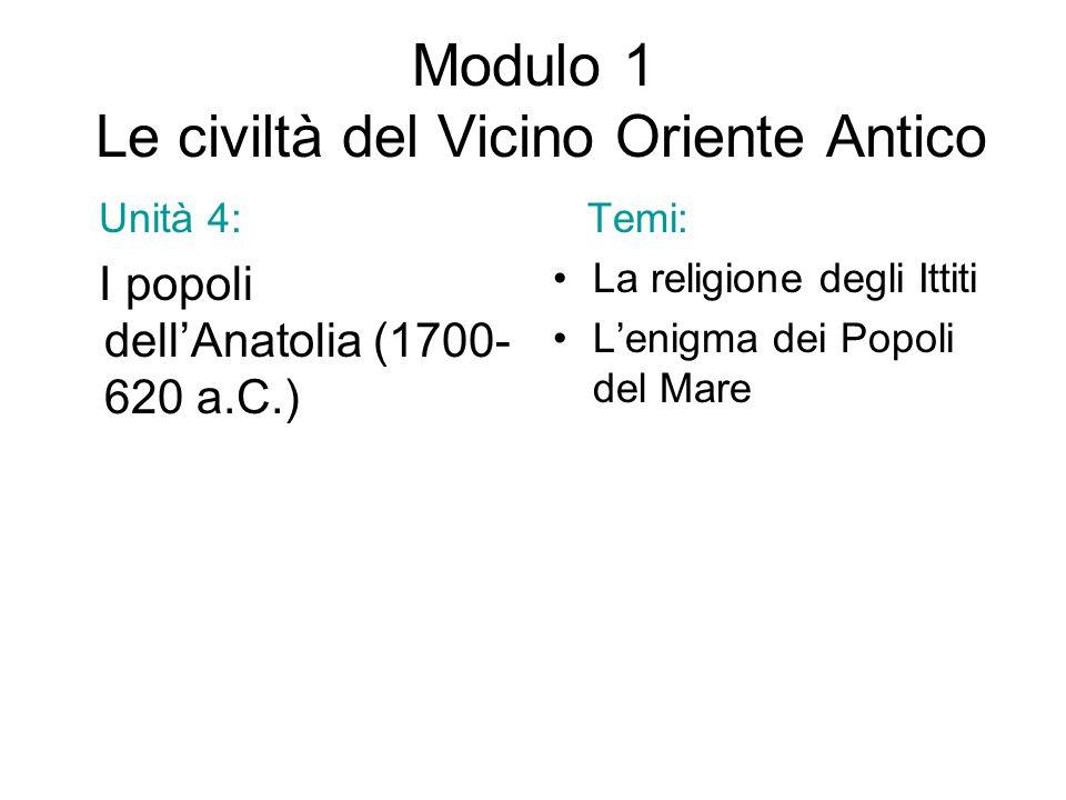 Modulo 1 Le civiltà del Vicino Oriente Antico Unità 4: I popoli dell'Anatolia (1700- 620 a.C.) Temi: La religione degli Ittiti L'enigma dei Popoli del