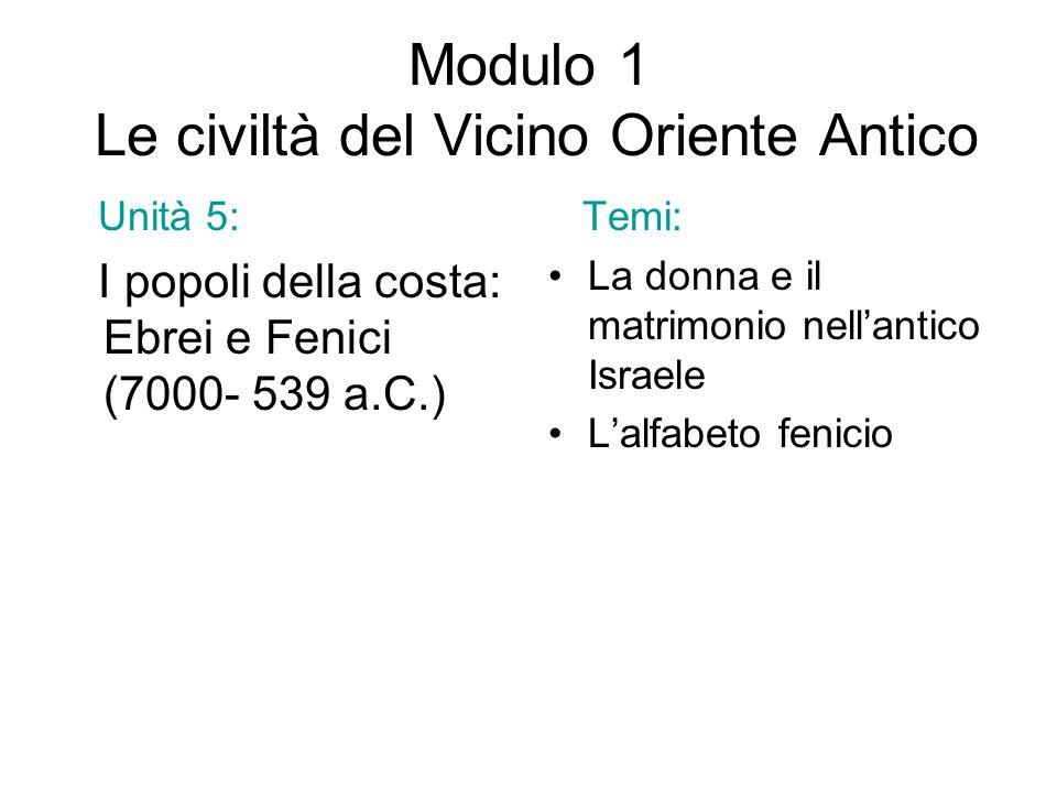 Modulo 1 Le civiltà del Vicino Oriente Antico Unità 5: I popoli della costa: Ebrei e Fenici (7000- 539 a.C.) Temi: La donna e il matrimonio nell'antic