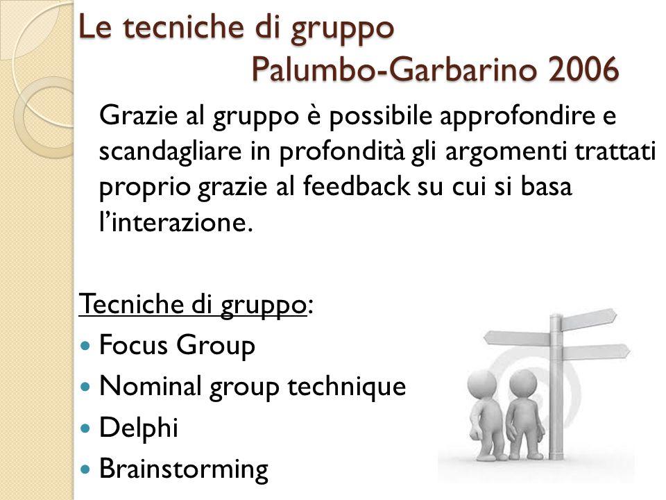 Le tecniche di gruppo Palumbo-Garbarino 2006 Grazie al gruppo è possibile approfondire e scandagliare in profondità gli argomenti trattati proprio gra