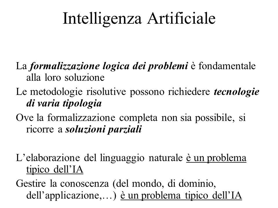 Intelligenza Artificiale La formalizzazione logica dei problemi è fondamentale alla loro soluzione Le metodologie risolutive possono richiedere tecnologie di varia tipologia Ove la formalizzazione completa non sia possibile, si ricorre a soluzioni parziali L'elaborazione del linguaggio naturale è un problema tipico dell'IA Gestire la conoscenza (del mondo, di dominio, dell'applicazione,…) è un problema tipico dell'IA
