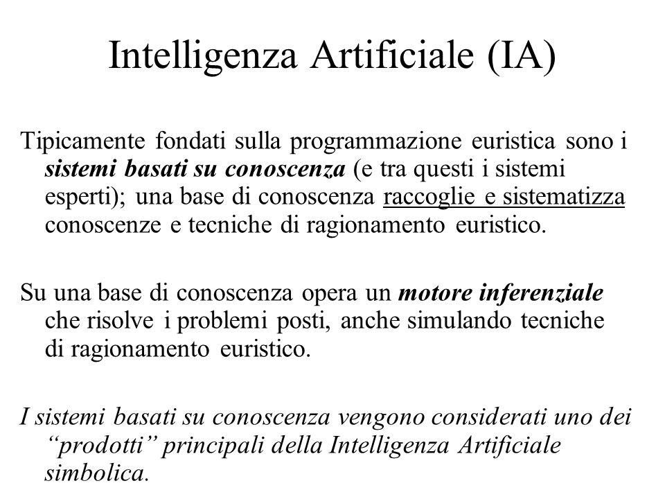 Intelligenza Artificiale (IA) Tipicamente fondati sulla programmazione euristica sono i sistemi basati su conoscenza (e tra questi i sistemi esperti); una base di conoscenza raccoglie e sistematizza conoscenze e tecniche di ragionamento euristico.