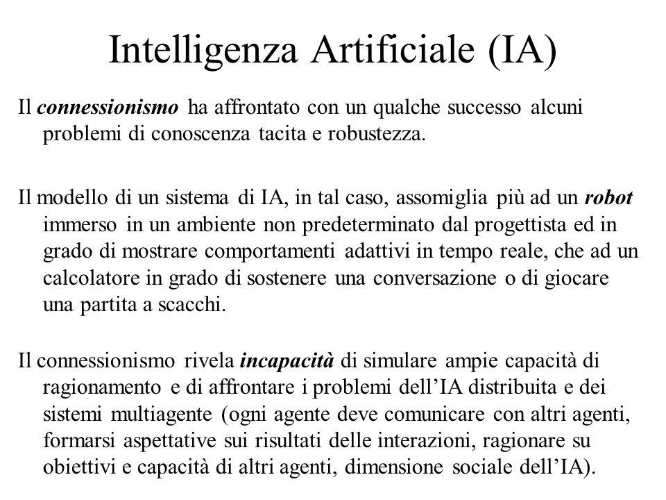 Intelligenza Artificiale (IA) Il connessionismo ha affrontato con un qualche successo alcuni problemi di conoscenza tacita e robustezza.