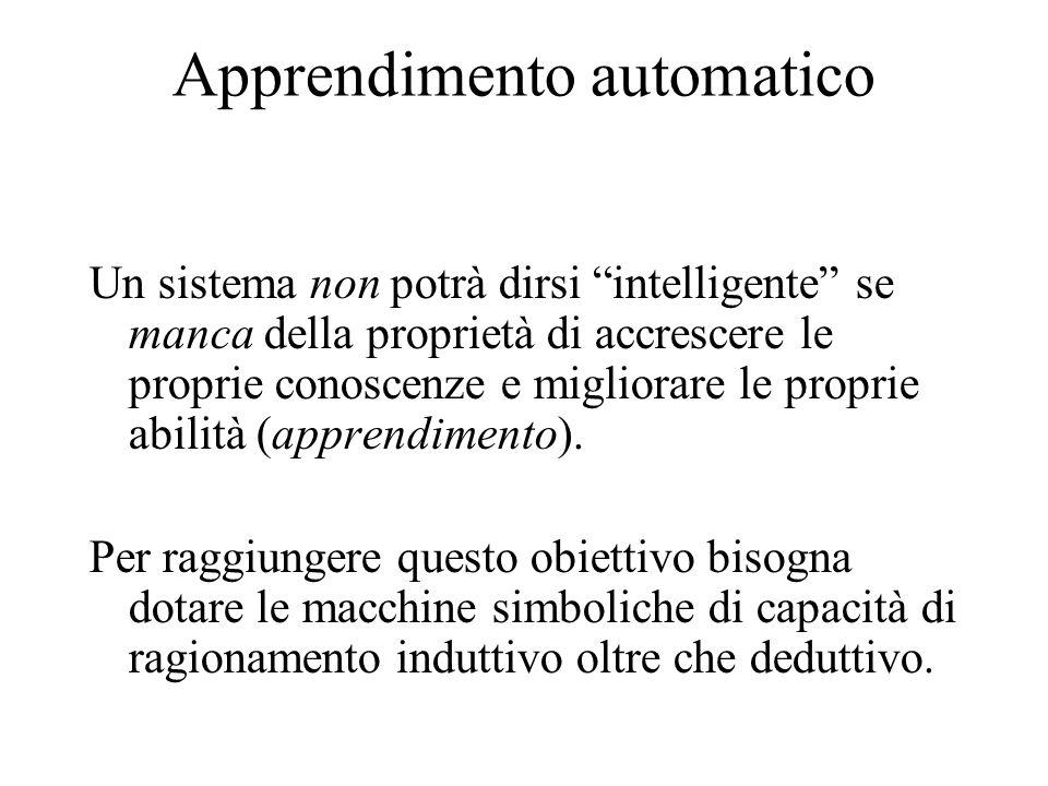 Apprendimento automatico Un sistema non potrà dirsi intelligente se manca della proprietà di accrescere le proprie conoscenze e migliorare le proprie abilità (apprendimento).