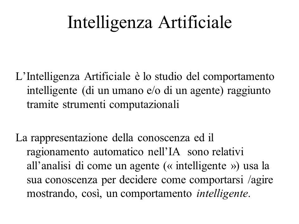 Intelligenza Artificiale L'Intelligenza Artificiale è lo studio del comportamento intelligente (di un umano e/o di un agente) raggiunto tramite strumenti computazionali La rappresentazione della conoscenza ed il ragionamento automatico nell'IA sono relativi all'analisi di come un agente (« intelligente ») usa la sua conoscenza per decidere come comportarsi /agire mostrando, così, un comportamento intelligente.